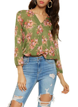 Floral Chiffon Blouse - 3001074293140