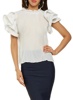 Tiered Sleeve Pleated Blouse - 3001074293144
