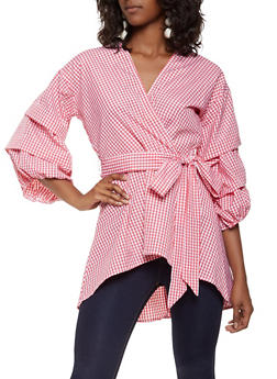 Faux Wrap Gingham High Low Top - 3001074293145