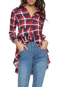 Plaid High Low Button Front Shirt - 3001074293152