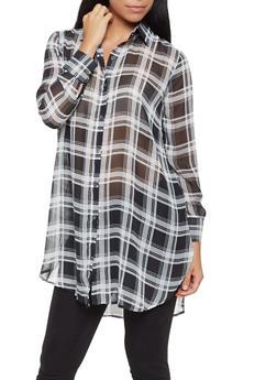 Sheer Plaid Tunic Shirt - WHITE - 3001074293153