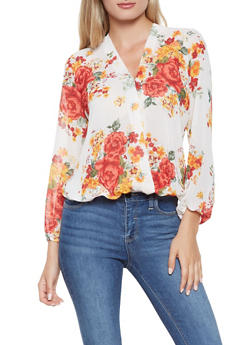 Printed Faux Wrap Blouse - 3001074295014