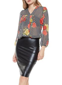 Floral Striped Tie Back Blouse - 3001074295015