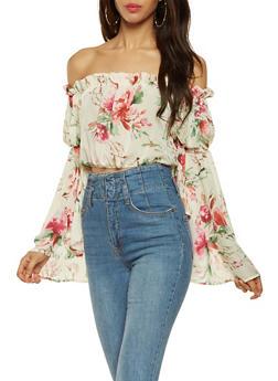 Sheer Floral Off the Shoulder Crop Top - 3001074295018