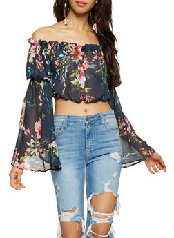 Sheer Floral Off the Shoulder Crop Top - 3001074295018