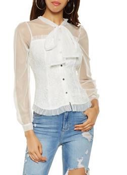 Tie Neck Lace Shirt - 3001074295028