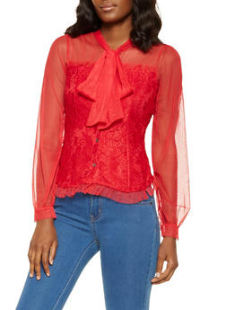 Tie Neck Lace Shirt - 3001074295028