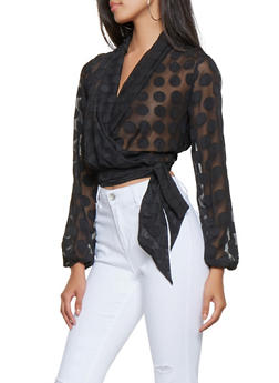 Cropped Polka Dot Faux Wrap Top - 3001074295031