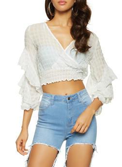 Tiered Sleeve Crinkle Knit  Crop Top - 3001074295033