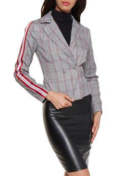 Plaid Ribbon Trim Sleeve Blazer - 3003051067124