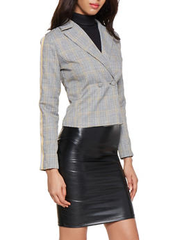 Plaid Ribbon Trim Sleeve Blazer - 3003051067124