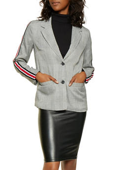 Striped Trim Plaid Blazer - 3003051067144