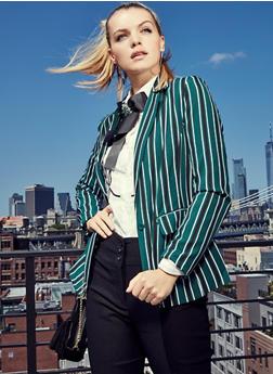Striped Button Front Blazer - 3003051067158