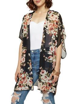 Floral Chiffon Kimono - 3003054261261