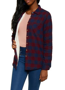 Plaid Sherpa Lined Flannel Button Front Top - 3003054269153