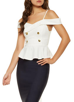 Off the Shoulder Peplum Top - 3003058751045