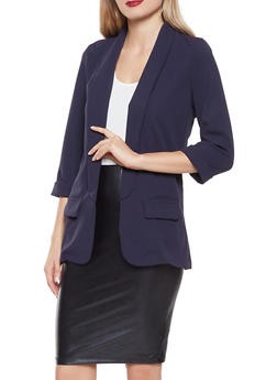 Solid Open Front Blazer - 3003062413750