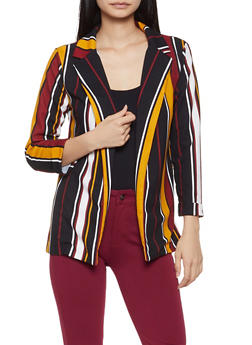 Striped Crepe Knit Blazer - 3003062413753