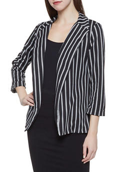 Striped Crepe Knit Blazer - 3003062413754