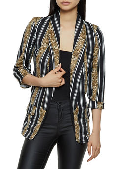 Leopard Striped Blazer - 3003062413755