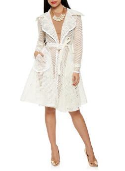 Laser Cut Mesh Flyaway Trench Coat - 3003074290447