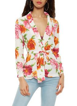 Floral Lightweight Tie Waist Blazer - 3003074291154