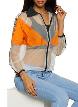 Checkered Tape Detail Mesh Jacket - 3003074293057