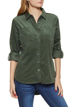 Corduroy Button Front Shirt - OLIVE - 3005038340585
