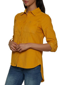 Corduroy Button Front Shirt - 3005038340585