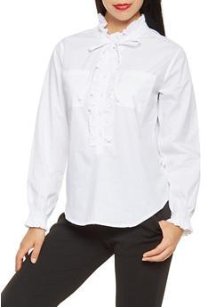 Ruffled Button Front Shirt - 3005038349649