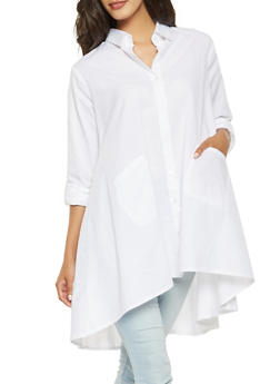 Oversized Button Front Tunic Top - 3005038349651