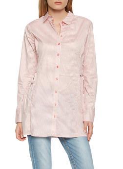 Striped Lace Up Side Tunic Shirt - 3005038349670
