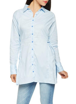 Lace Up Side Button Front Tunic Top - 3005038349671