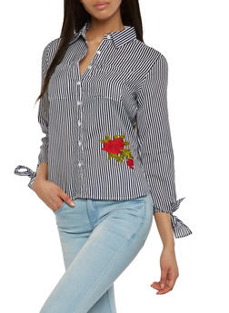 Rose Embroidered Striped Button Front Shirt - 3005038349672