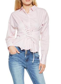 Striped Lace Up Waist Shirt - 3005038349673