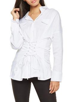 Lace Up Waist Shirt - 3005038349674