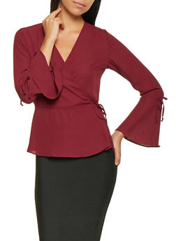 Bell Sleeve Wrap Top - 3005054260576