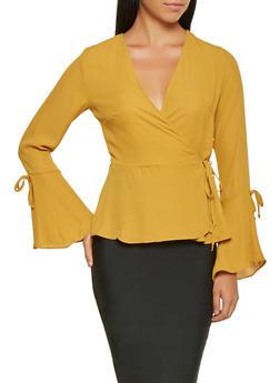 Bell Sleeve Wrap Top - 3005054260576