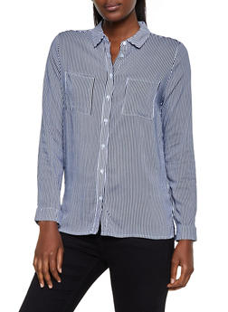 Striped Two Pocket Button Front Shirt - 3005054260669