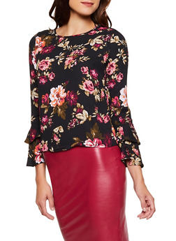 Floral Bell Sleeve Top - 3005054261682