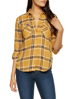 Plaid Tabbed Sleeve Shirt - 3005054268833