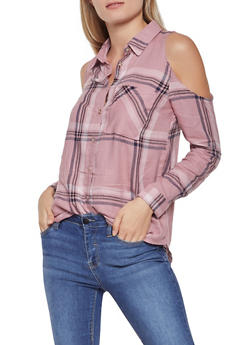 Plaid Cold Shoulder Button Front Shirt - 3005054269671