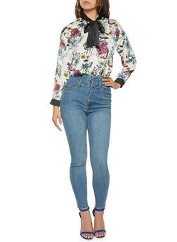 Floral Satin Button Front Shirt - 3005074290327