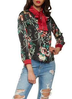 Floral Satin Button Front Top - 3005074290328