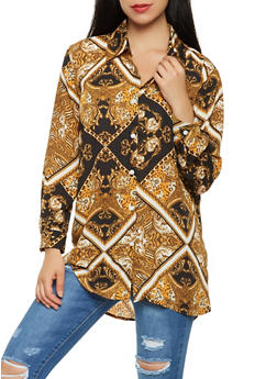 Printed Button Front Shirt - 3005074290329