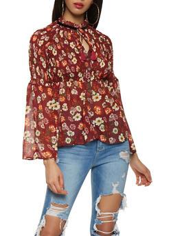 Floral Tie Neck Button Front Top - 3005074290351
