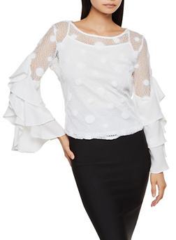 Tiered Sleeve Polka Dot Crochet Top - 3005074291417