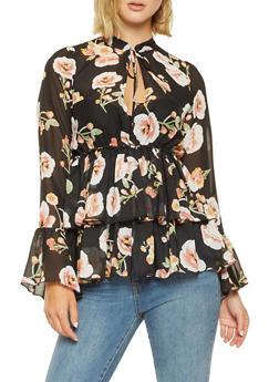 Floral Tiered Chiffon Peplum Top - 3005074292114