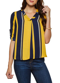 Striped Tabbed Sleeve Blouse - 3005074293050