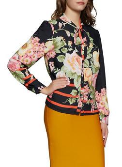 Floral Tie Neck Shirt - 3005074293069